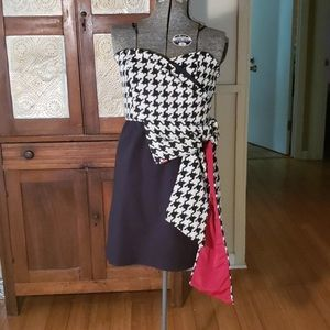 NWOT Judith March Houndstooth Bow dress S